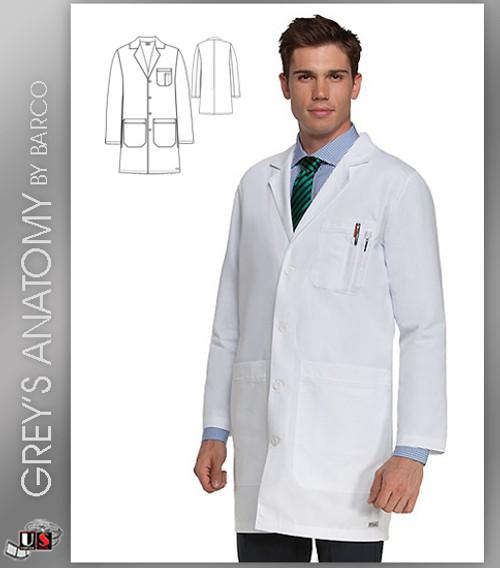 "Grey's Anatomy 37"" Men's Tablet 6 Pocket  Lab Coat"