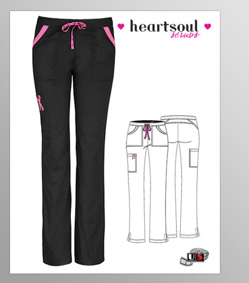 "HeartSoul Breast Cancer Awareness ""Charmed"" Low-Rise Drawstring Cargo Pant - Black"