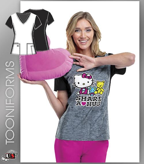 Cherokee Tooniforms Hello Kitty Share V-Neck Scrub Top
