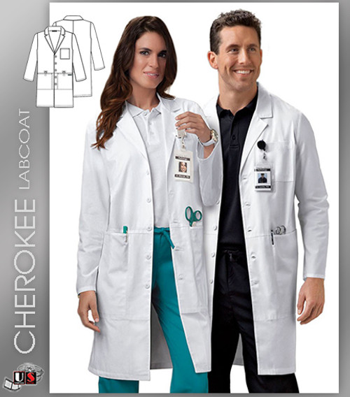 "CHEROKEE Next Generation 40"" Unisex Button Front Lab Coat"