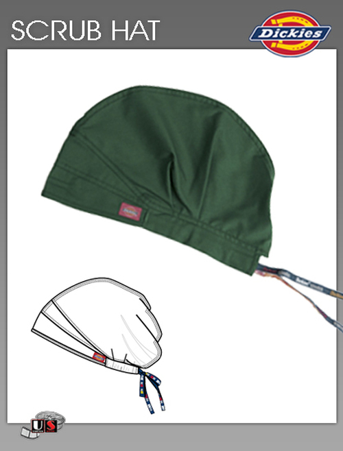 Dickies Unisex Adjustable Dickies Logo Twill Tape Scrub Hat - Hunter