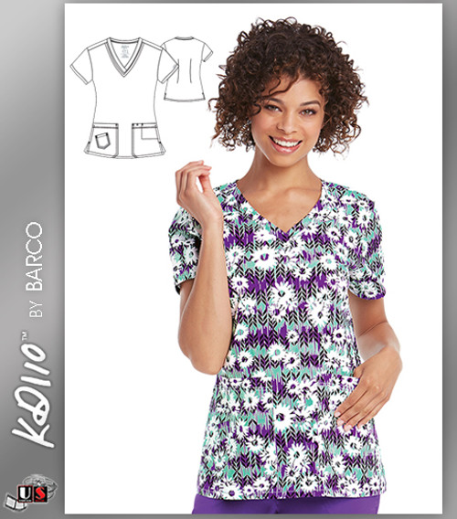 KD110 BY Barco Wild Daisy Two Pockets V-Neck Print Scrub Top