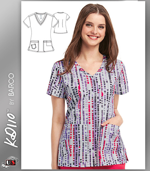 KD110 BY Barco Cherry Hearts Two Pockets V-Neck Print Scrub Top