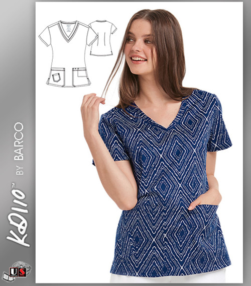KD110 BY Barco Diamonds Two Pockets V-Neck Print Scrub Top