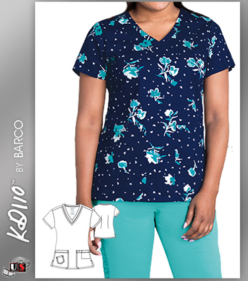 KD110 BY Barco North Shore Two Pockets V-Neck Print Scrub Top