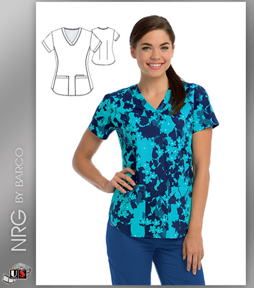 NRG By Barco Rainforest 3 Pocket V-Neck Print Scrub Top