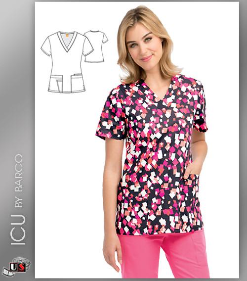 ICU by Barco Sea Gutter Print V-Neck 4 Pocket Scrub Top