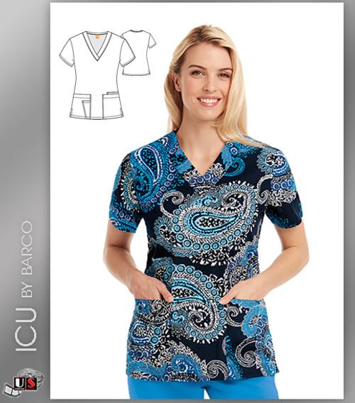 ICU by Barco Paisley Print V-Neck 4 Pocket Scrub Top