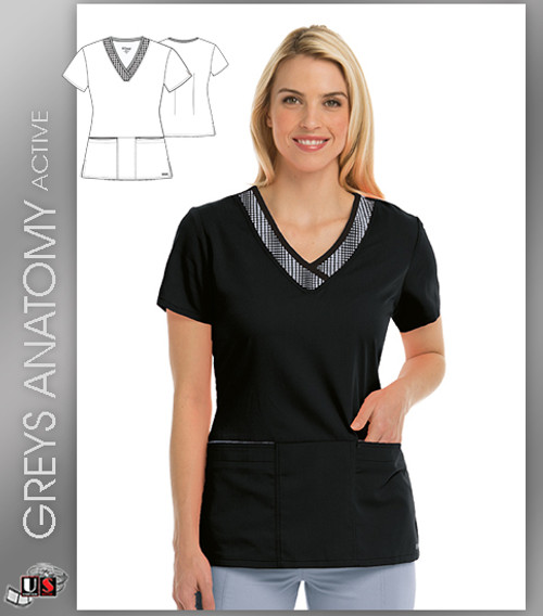 Greys Anatomy Active 3 Pocket Printed V-Neck Top