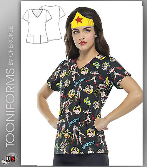 Cherokee Tooniforms Wonder Woman V-Neck Top