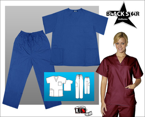 Black Star Elite Unisex V-Neck Cargo Scrub Set Poplin