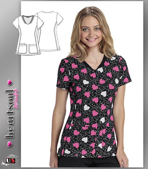 Heartsoul Women's Young Love Pink Mock Wrap Scrub Top