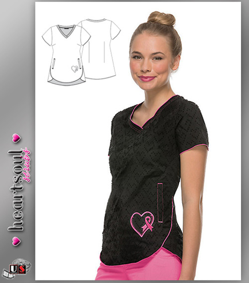 "HeartSoul Women's ""Girls Love Pink"" V-Neck Top - Black"