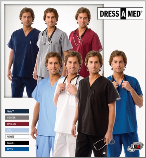 Dress A Med Solid Premium Scrub Nursing V-Neck Top Uniform