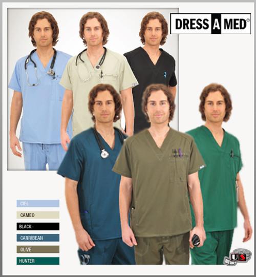 Dress A Med Solid Premium Men's Functional 4 Pockets V-Neck Scrub Top