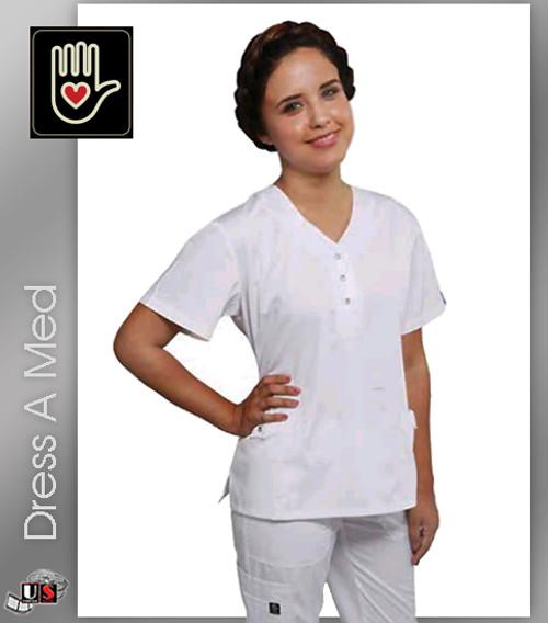 Dress A Med Solid Premium Mock Wrap 2 Pocket Top Set White