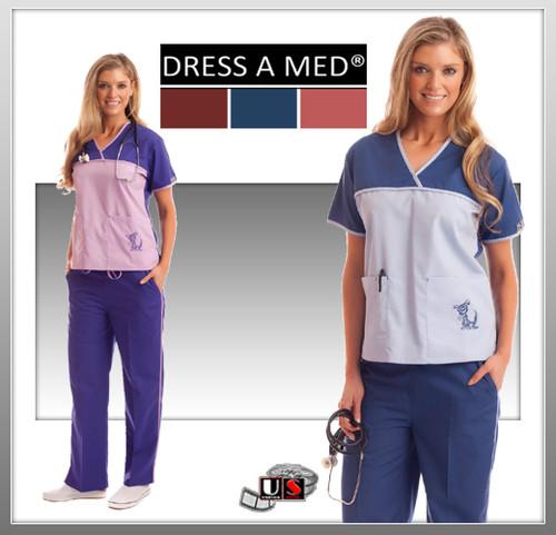 Dress A Med Solid Premium Sporty V-Neck 2 Pocket Top Set