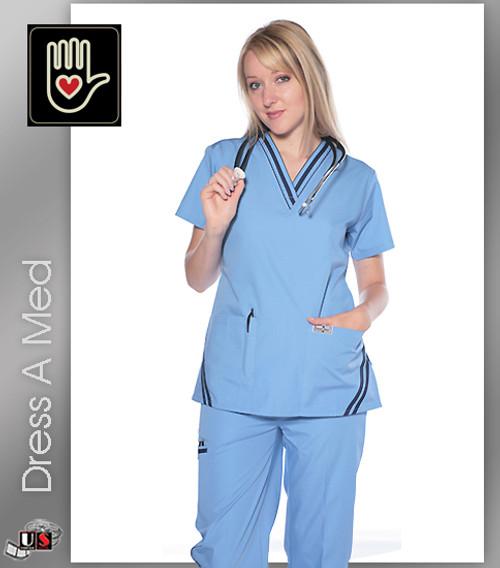 602-DRSS DRESS A MED Women's Stylish 2 Piece Scrub Set