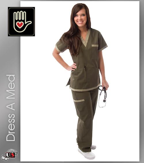 Dress A Med Solid Premium Scrub Nursing V-Neck Top Set