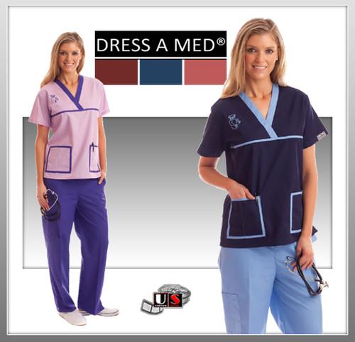 Dress A Med Solid Premium Sporty V-Neck 2 Pocket Print Top Set