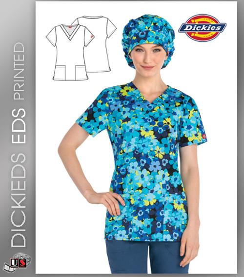 Dickies EDS A Dime A Daisy Print Women's V-Neck Scrub Top