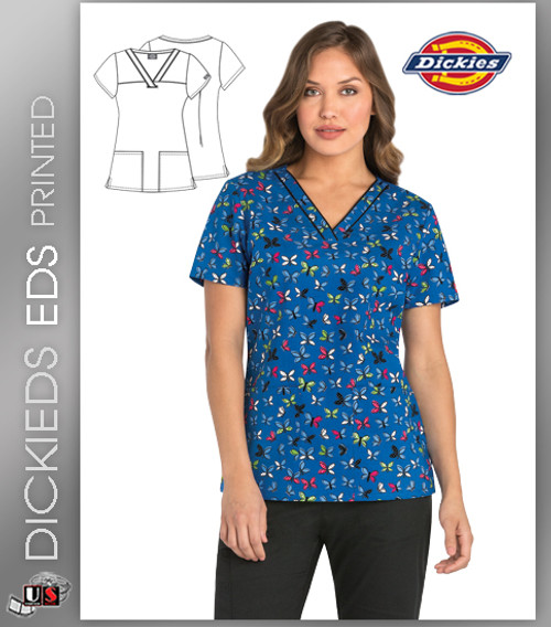 Dickies EDS Flutter You Talking About  Print Women's V-Neck Scrub Top