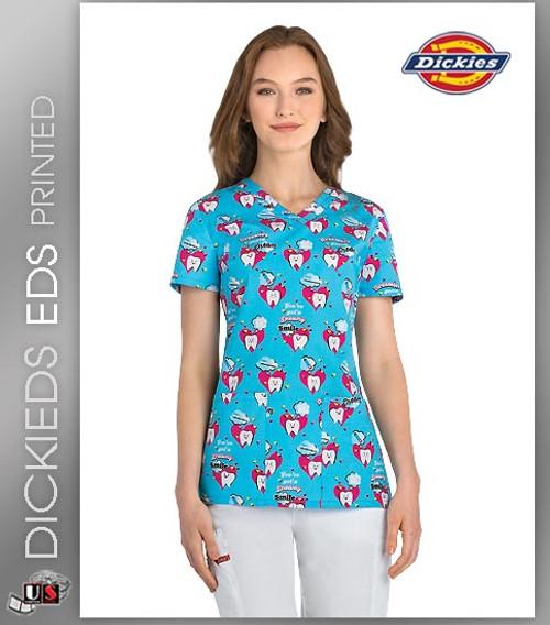 Dickies EDS Dreamers Gonna Dream Women's V-Neck Print Scrub Top