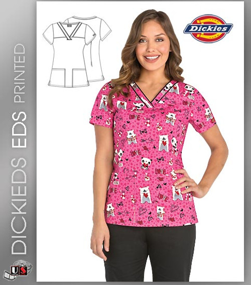 Dickies EDS Love You Beary Much Print Women's V-Neck Scrub Top