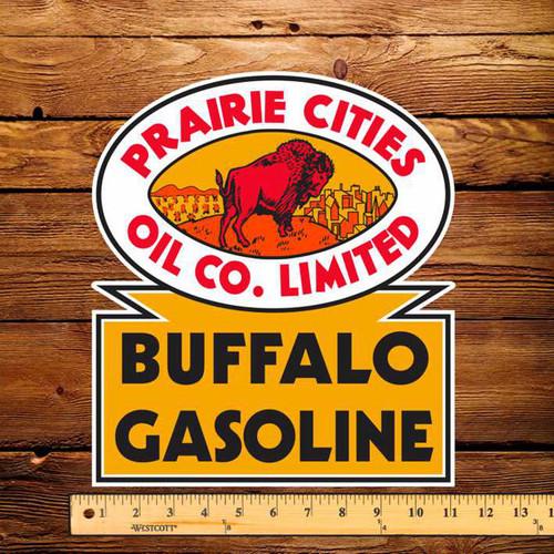 """Prairie Cities Buffalo Gasoline 10.5"""" x 12"""" Pump Decal"""