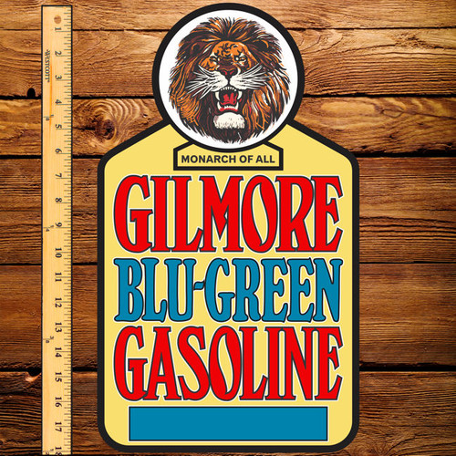 "Gilmore Blu-Green Gasoline 10.5"" x 18"" Pump Decal (Yellow)"