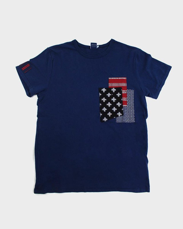 Patched Tee, Blue Cross/Ikat/Shuri-Ori