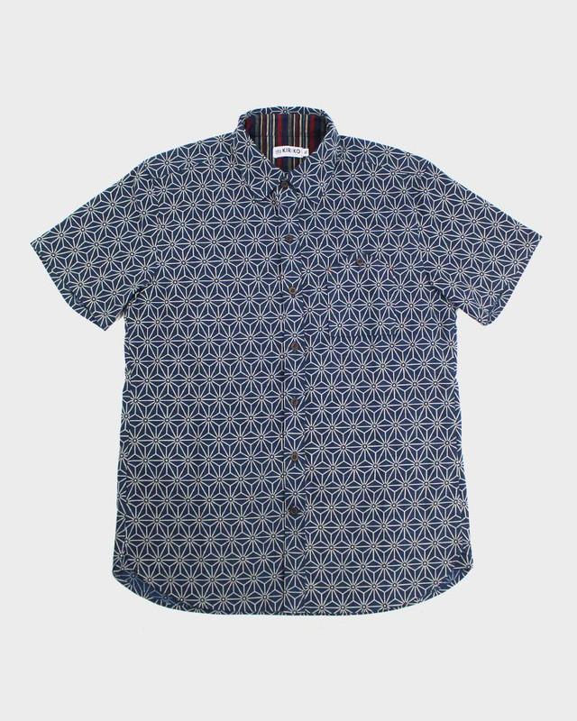 Short Sleeve Button-Up, Asanoha