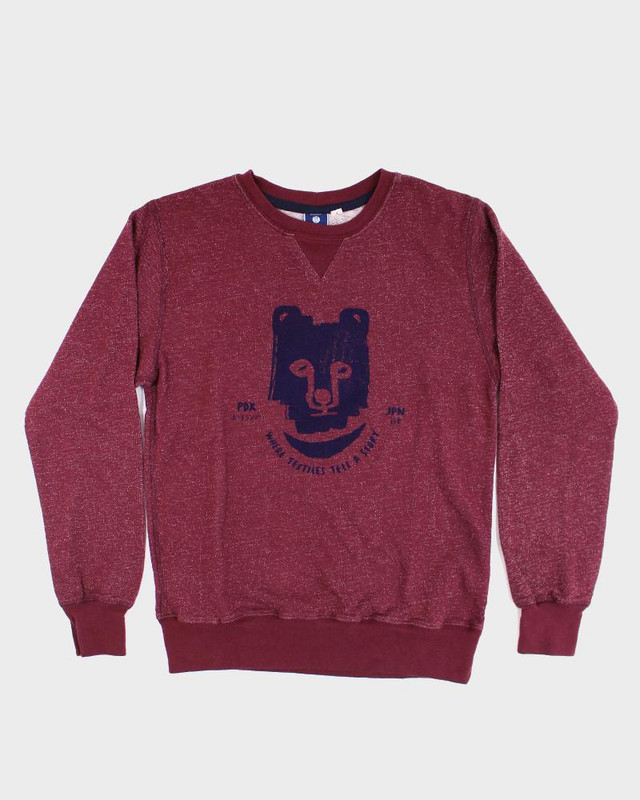 Printed Kuma Sweatshirt, Burgundy