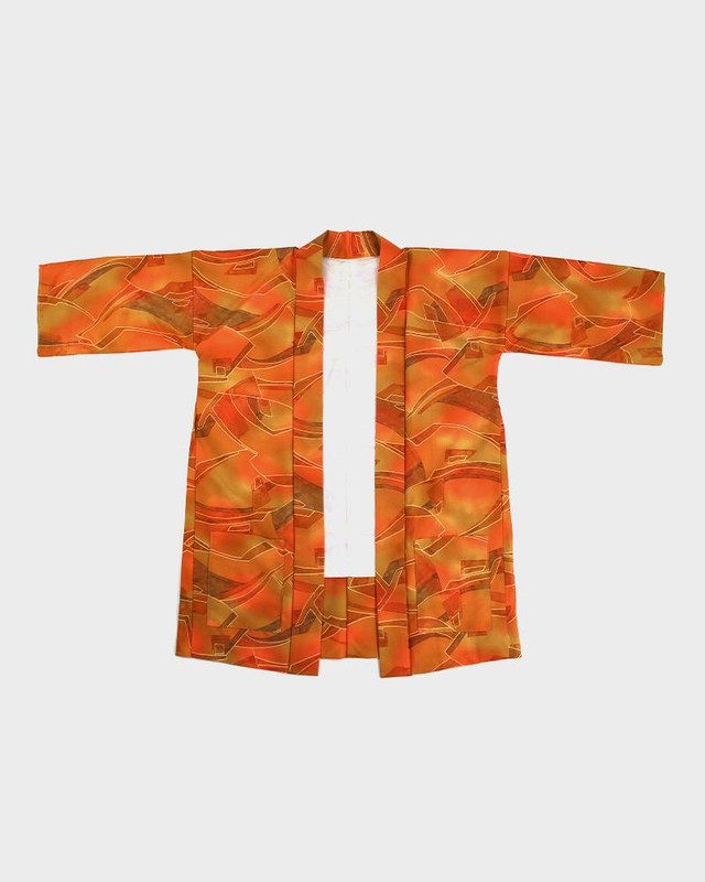 Modern Cut Kimono Haori Jacket, Brown and Orange Lines