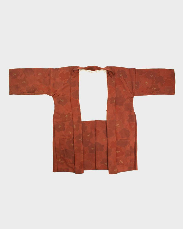 Modern Cut Haori Jacket, Dark Orange Flowers