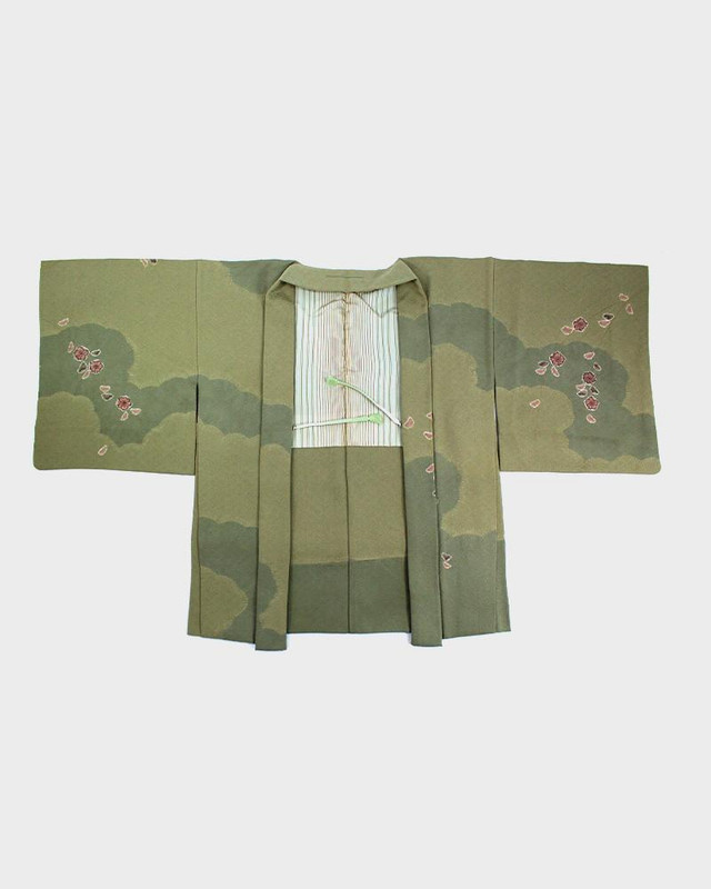 Vintage Kimono Haori Jacket, Clouds and Sakura