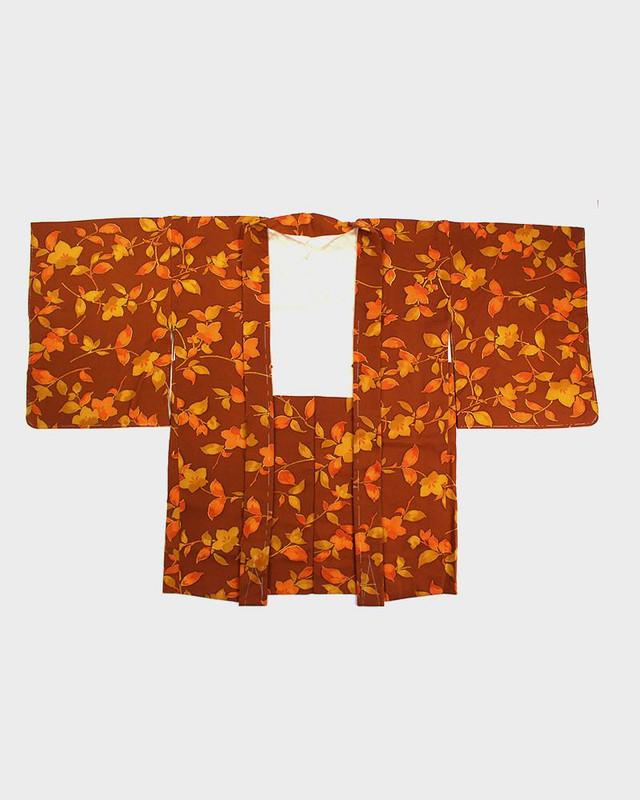 Vintage Kimono Haori Jacket, Autumn Leaves