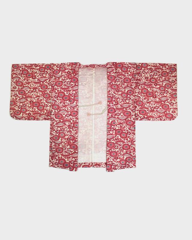 Vintage Kimono Haori Jacket, Pink Floral