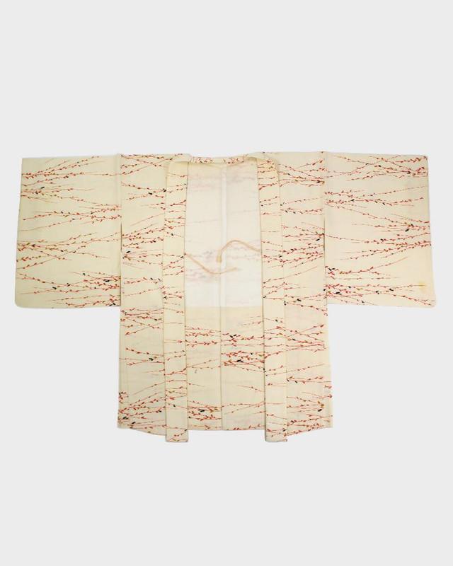 Vintage Kimono Haori Jacket, Red Vines