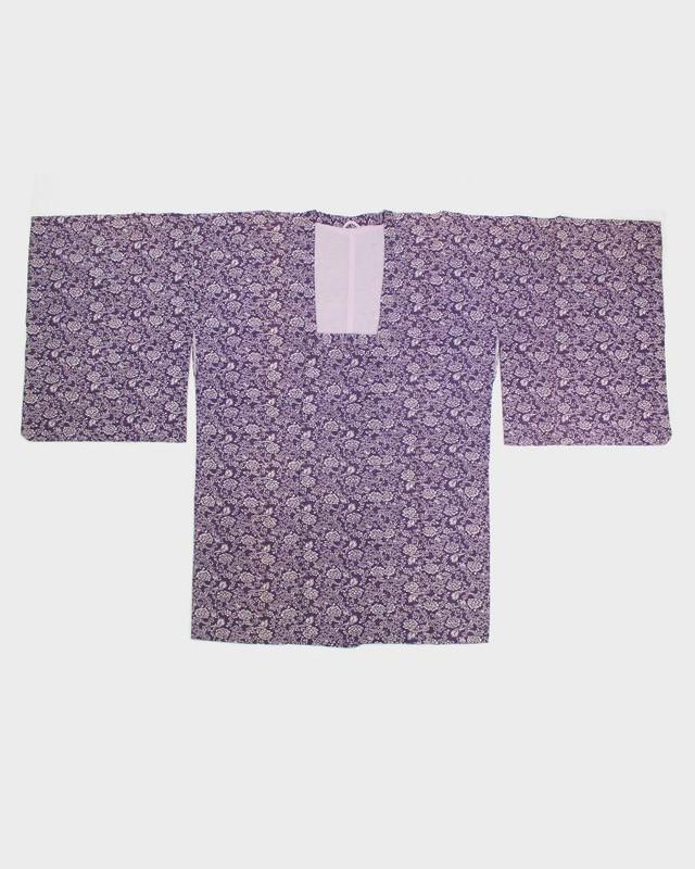Vintage Kimono Haori Jacket, Purple Michiyuki