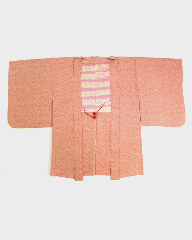Vintage Kimono Haori Jacket, Pink and Red Lines