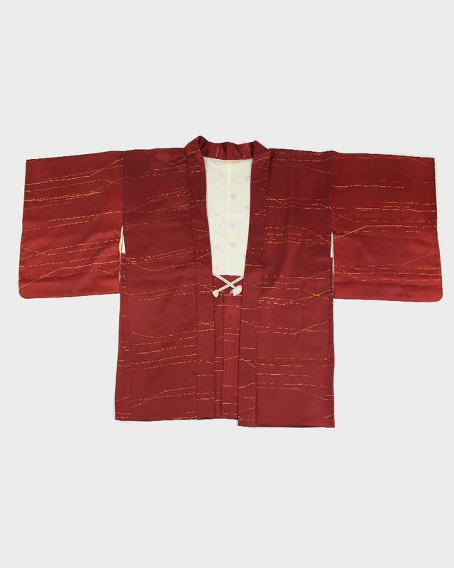 Vintage Kimono Haori Jacket, Golden Lines