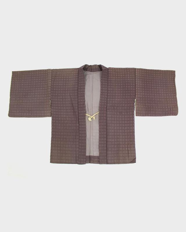 Vintage Kimono Haori Jacket, Purple Squares