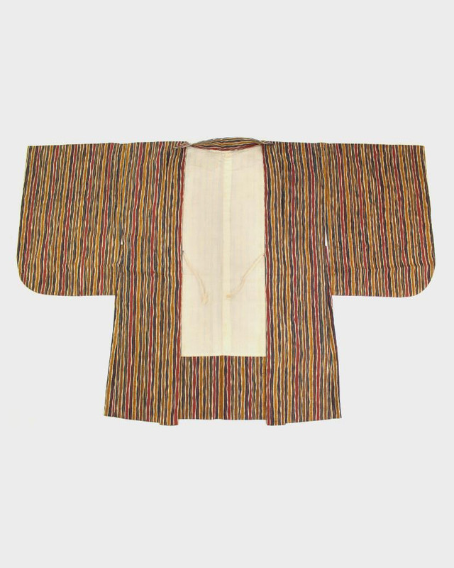 Vintage Kimono Haori Jacket, Hand Stripe