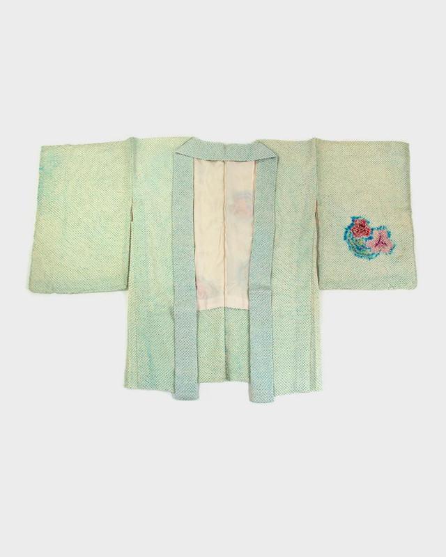 Vintage Shibori Haori Jacket, Teal Floral
