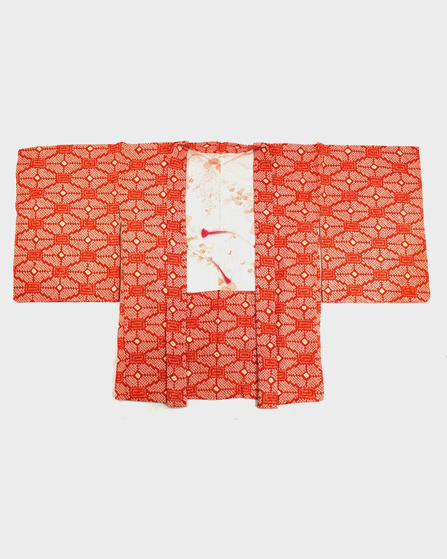 Vintage Shibori Haori Jacket, Red Orange Kikko