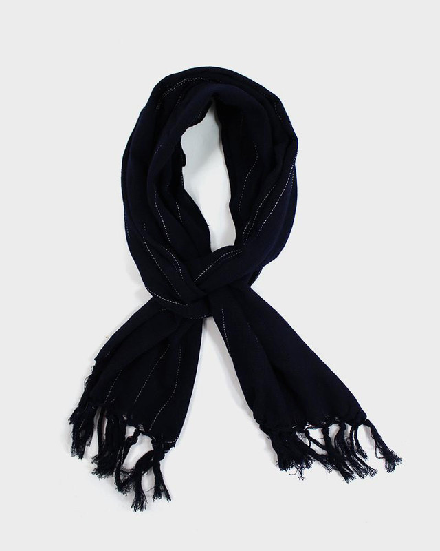 Karu-Ori Scarf, Navy Blue and White Stitches