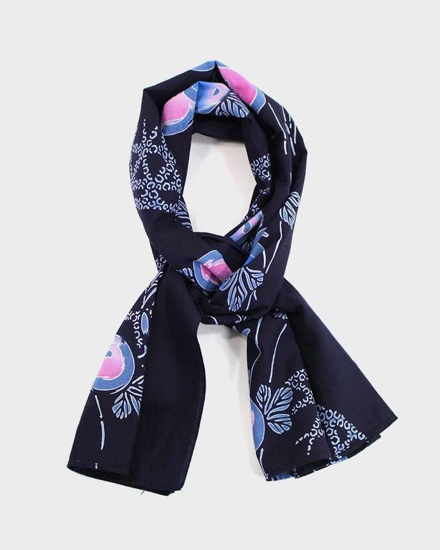 Yukata Scarf, Navy Flowers and Buds
