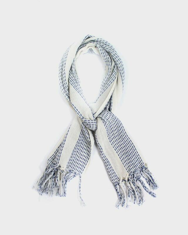 Karu-Ori Scarf, White Blue Dash