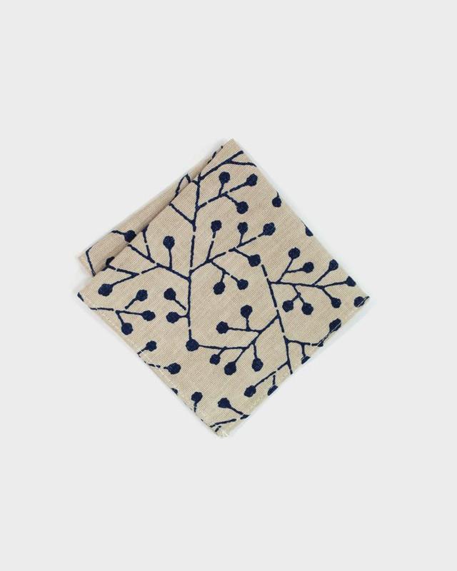 Pocket Square, Indigo Buds